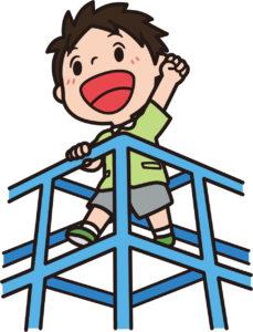 ジャングルジムで遊ぶ子供